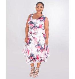 Signature FEROZA - Plus Size Puff Print Cowl Neck Chiffon Dress