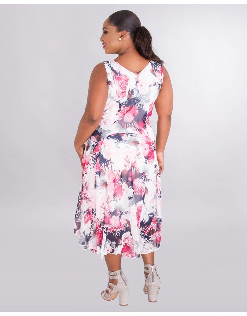 Signature FEROZA - Plus Size Puff Print Cowl Neck Chiffon Dress