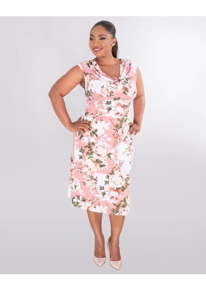 ISALA- Plus Size Cowl Neck Cap Sleeve Dress