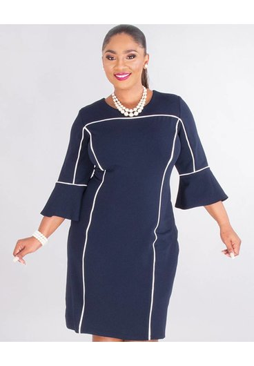 Studio 1 ROSALBA- Plus Size 3/4 Sleeve Crepe Dress With Trim