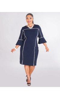 Studio 1 ROSALBA- 3/4 Sleeve Crepe Dress With Trim