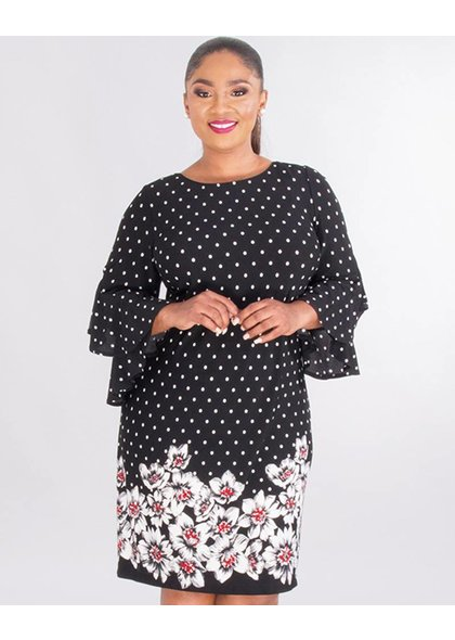 Sandra Darren REGINY- Plus Size Polka Dot & Floral Crepe Dress