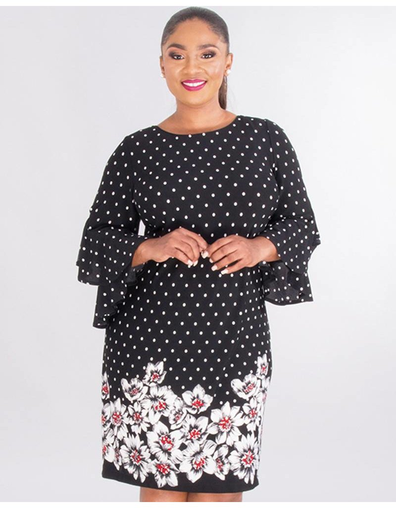 61e08741bb REGINY- Plus Size Polka Dot & Floral Crepe Dress - Harmonygirl.com