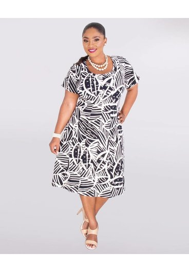 Signature BELEN- Plus Size Short Sleeve Foil Print Dress