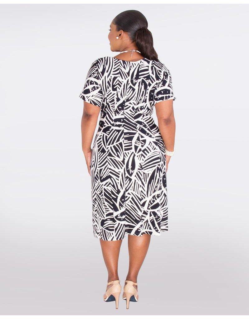 Signature BELEN- Plus Size Short Sleeve Foil Print Dress