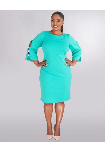 Shelby & Palmer RUE - Plus Size Cold Shoulder Dress With Pearls