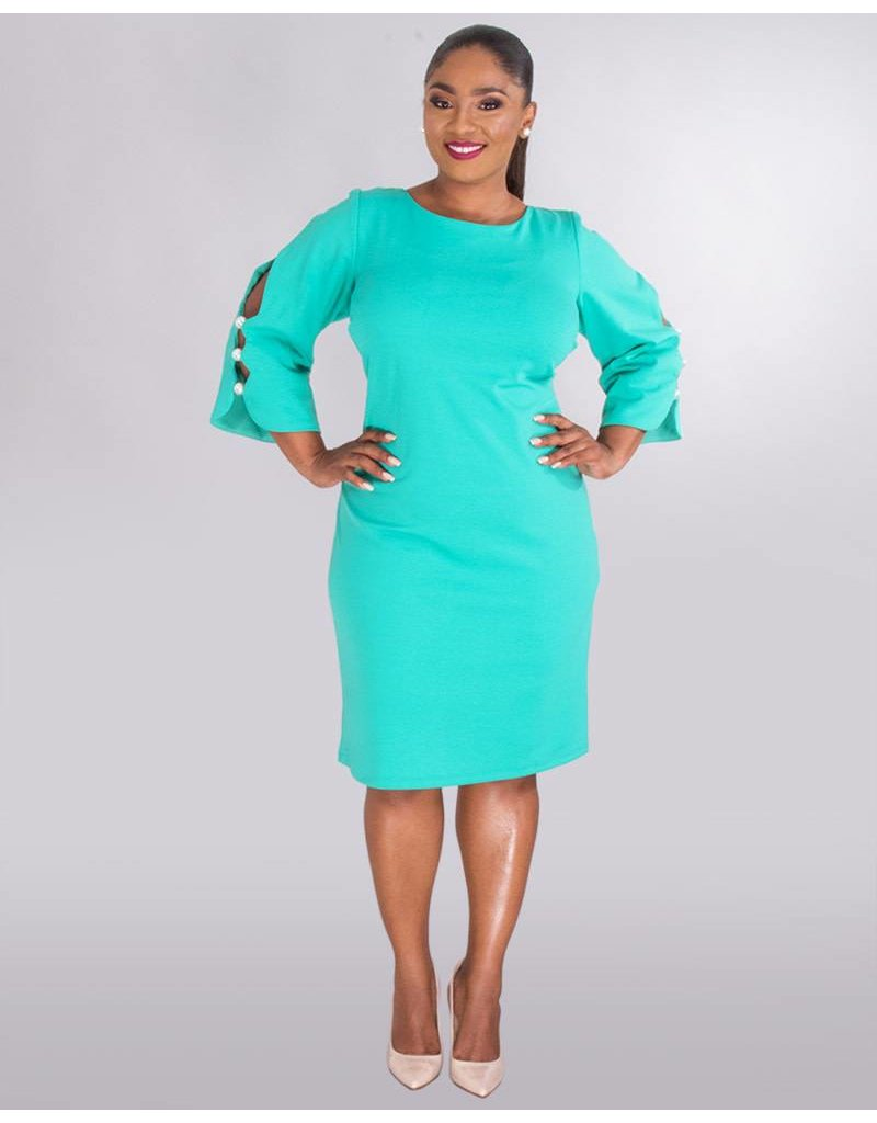 2ffea3084f RUE - Plus Size Cold Shoulder Dress With Pearls - Harmonygirl.com