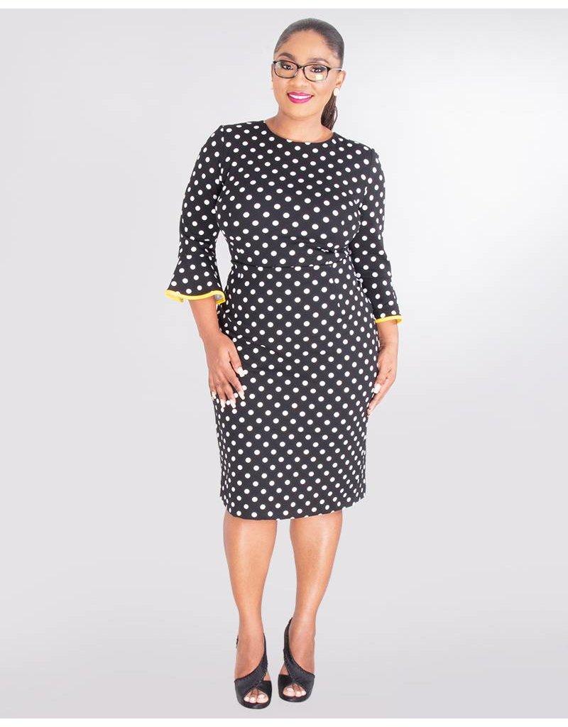 Shelby & Palmer RADIAH-3/4 Sleeve Crepe Polka Dot Dress