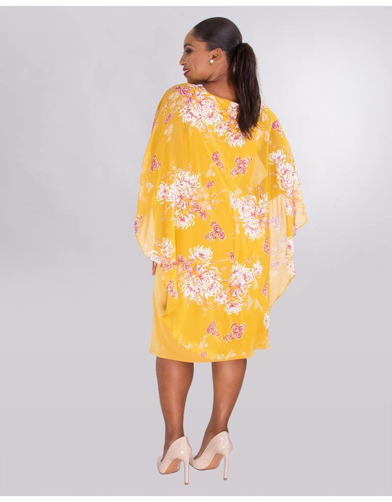 GLAMOUR FAUNA- Plus Size Printed Poncho Dress With Chain