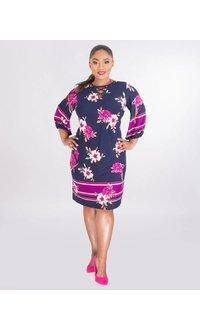 Sandra Darren IZARA- Plus Size Printed V-Neck Dress