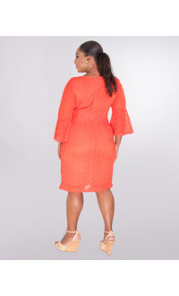 Sharagano CELINA- Crochet Dress With 3/4 Trumpet Sleeves