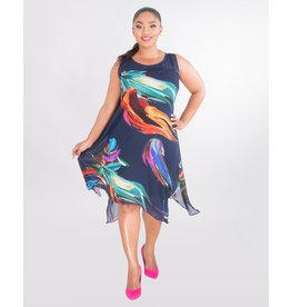 Signature FELWA- Printed Chiffon Overlay Dress