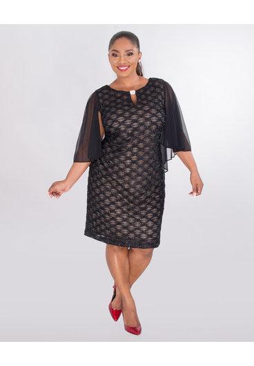 MAVIS- Plus Size  Mesh Dress With Bell Sleeves