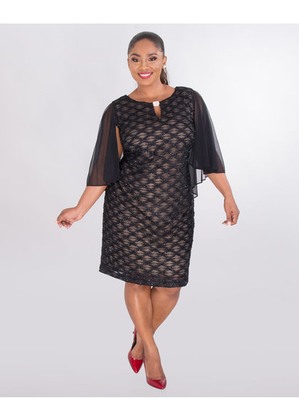 MAVIS- Plus Size  Mesh Dress With Bell Sleeves