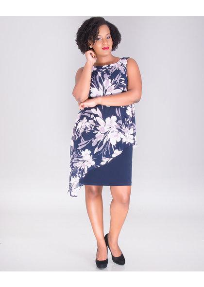 FAUSTINE- Asymmetrical Chiffon Overlay Dress