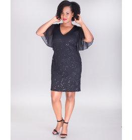 LEEZA- Lace Dress With Chiffon Sleeves