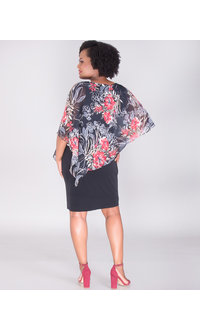 INDRELI- Dress With Printed Cold Shoulder Chiffon Cape