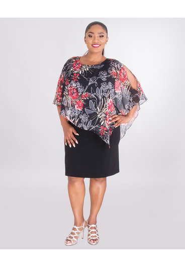 INDRELI- Plus Size Dress With Printed Cold Shoulder Chiffon Cape