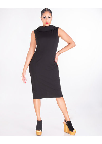 RUELLE- Fold Over Cowl Neck Sleeveless Dress