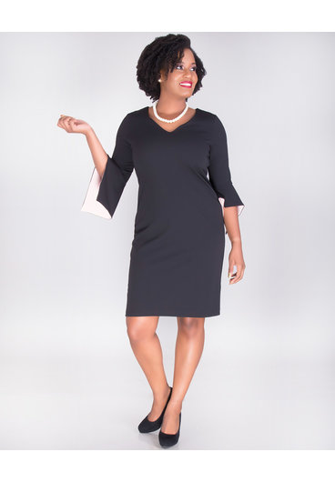 RIPLEY- V Neck Crepe Dress With Color Block Drama Sleeves