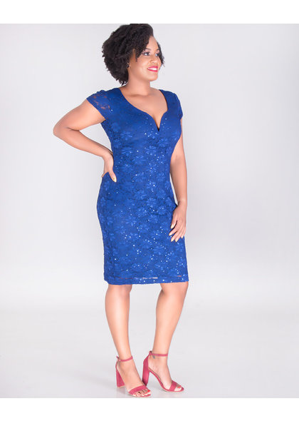 LINDA- Short Sleeve Lace Dress With Sequins