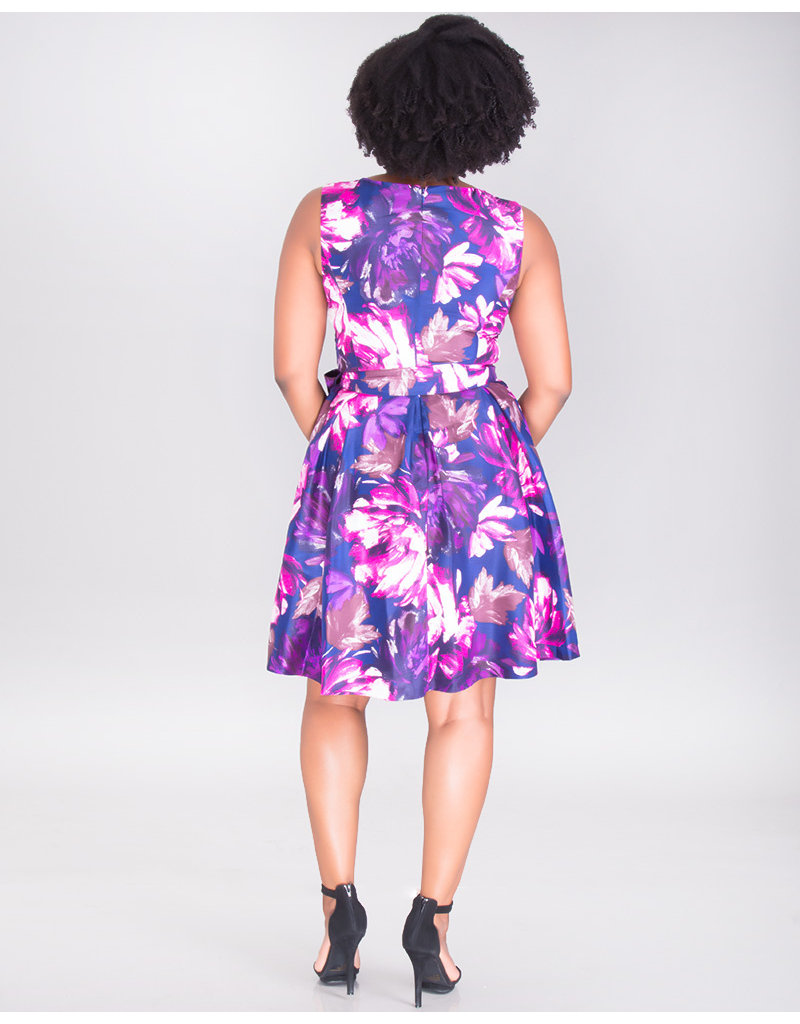 Nine West HARLEY-  Sleeveless Shantung Fit & Flare Dress