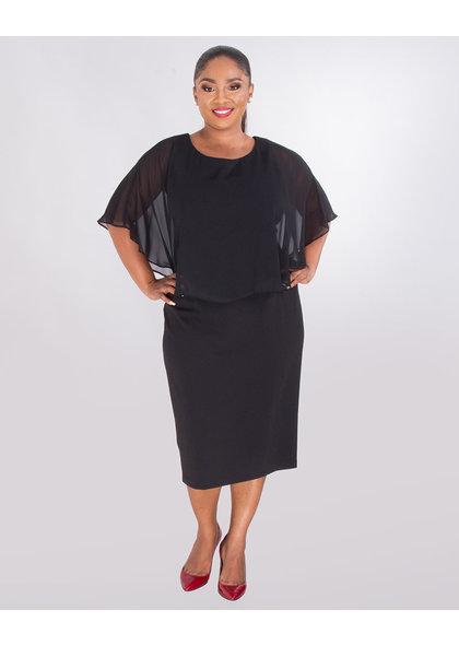 ROLANDA- Plus Size Crepe Dress With Chiffon Cape
