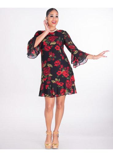 Jessica Howard FADELA- Rose Print Chiffon Dress