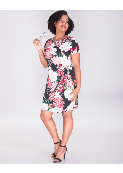 Signature IOLANA- Puff Print Faux Wrap Dress