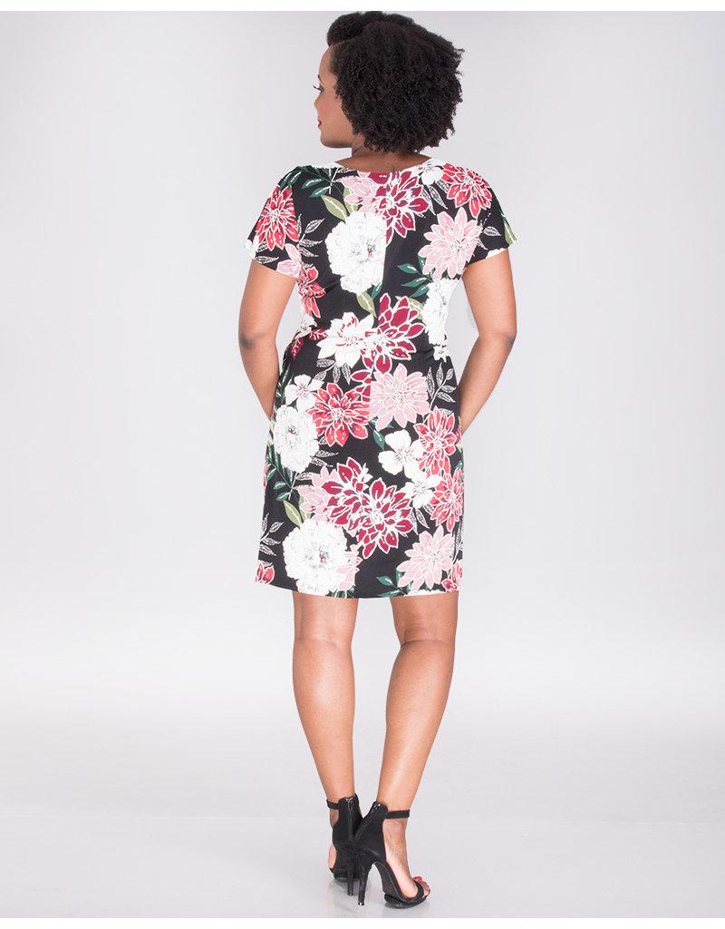 Signature IOLANA- Puff Print Faux Wrap Dress