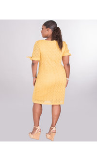Sharagano CELINE- Crochet Dress With Short Sleeves With Tie Accent