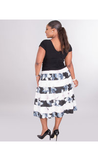SABINE- Floral and Stripe Fit and Flare Dress