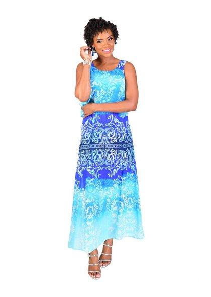 FLETA- Plus Size Printed Popover Maxi Dress