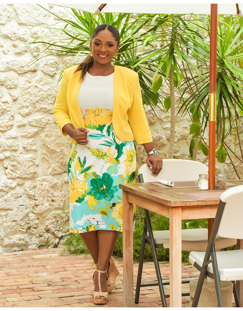 EDITH- Plus Size Floral Dress With Solid Jacket
