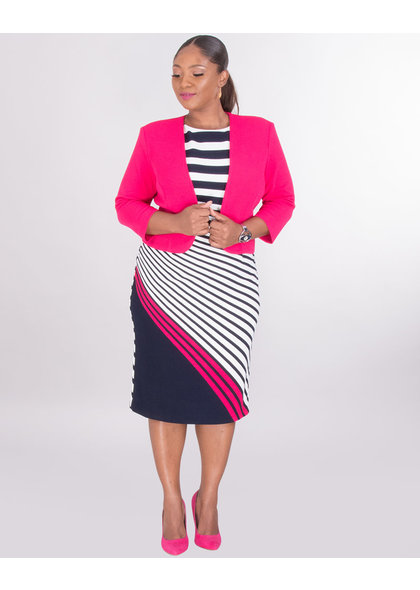 EBELE- Plus Size Striped Color Pop Jacket Dress