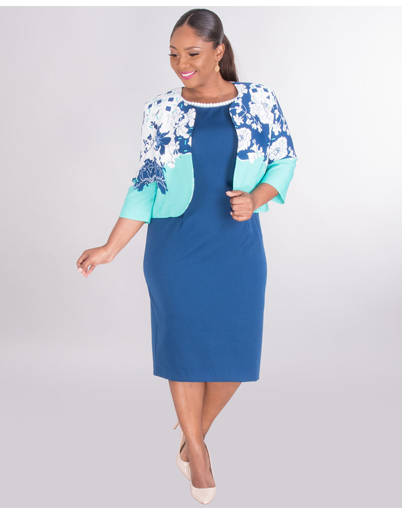 PERRIN- Bead Neck Dress With  Floral Jacket