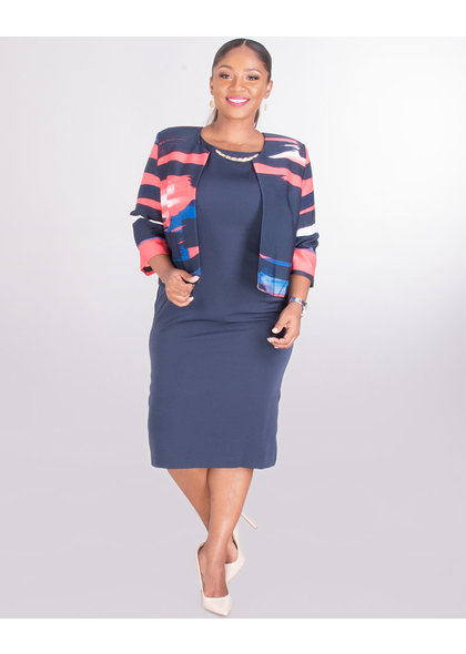 PETA - Plus Size Airbrush Print Jacket Dress