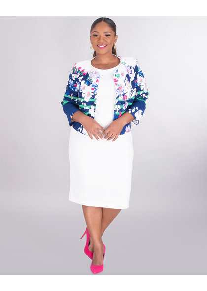 EARLA- Plus Size Floral Jacket Dress