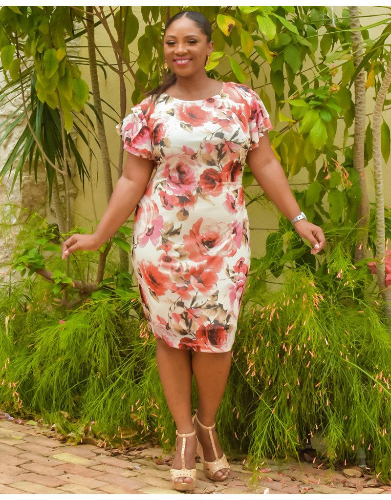 Magda- Floral Flutter Sleeve Dress