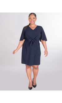 Sharagano ROSAMUND- Crepe Dress With Tie Front