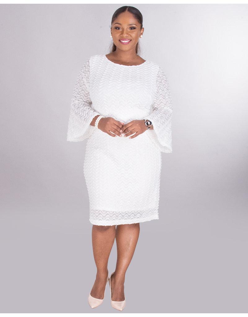 Sharagano CELINA- Crochet Dress With 3/4 Trumpet Sleeves