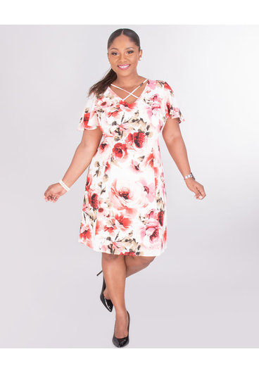 RYLEE- Floral V-neck With X Crepe Dress