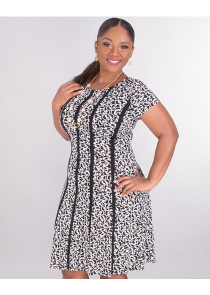 ISALINE- Printed Dress With Stripes