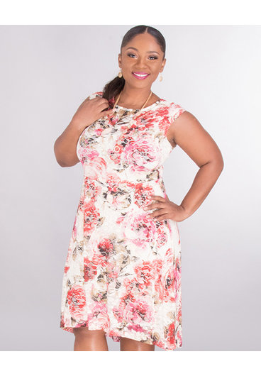 LARISA- Floral Hi-Low Lace Dress