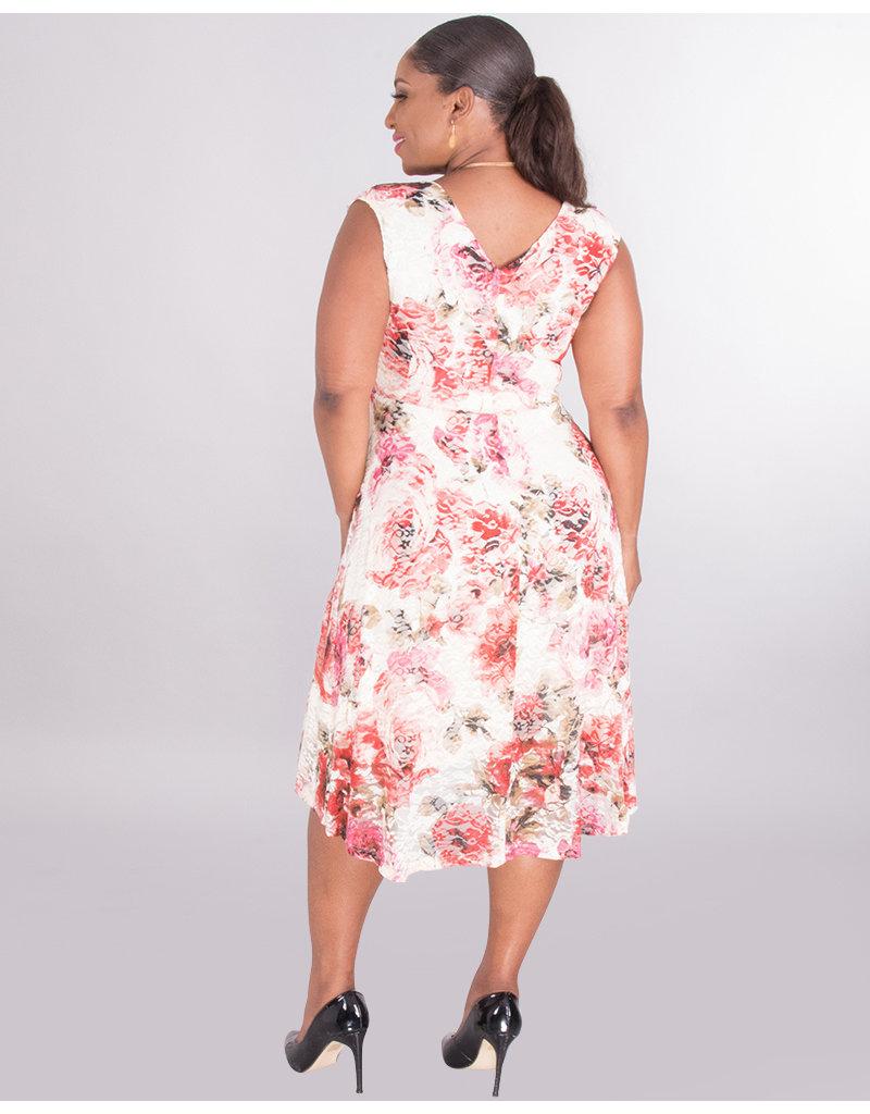 LARISA- Floral Hi-Low Lace Dress
