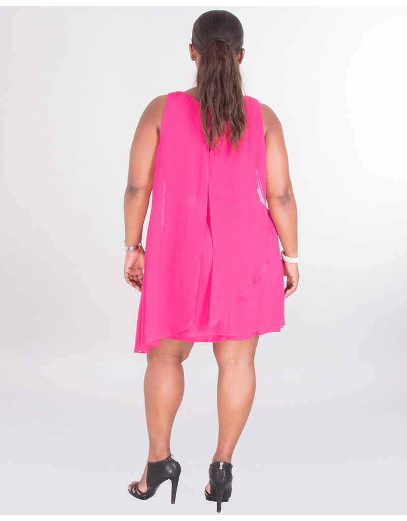 FARICA- Embellished Layered Chiffon Dress