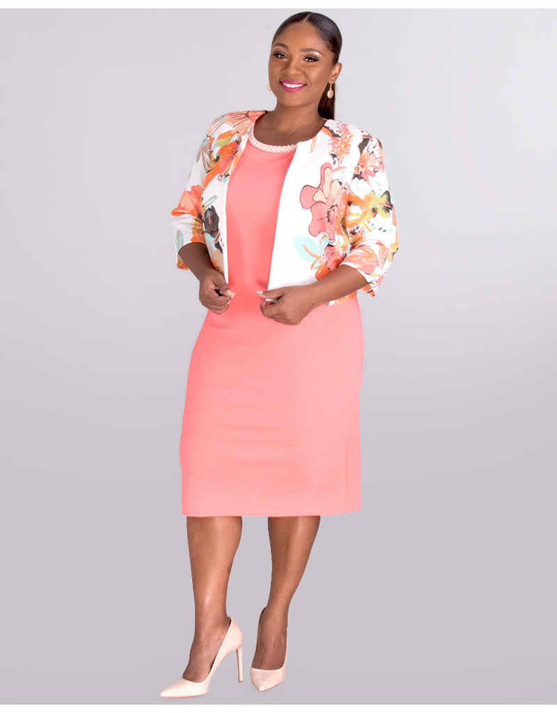 ECRU- Bead Neck Dress With  Floral Jacket