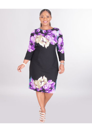 ROZALA- Dress With Placement Print At Top
