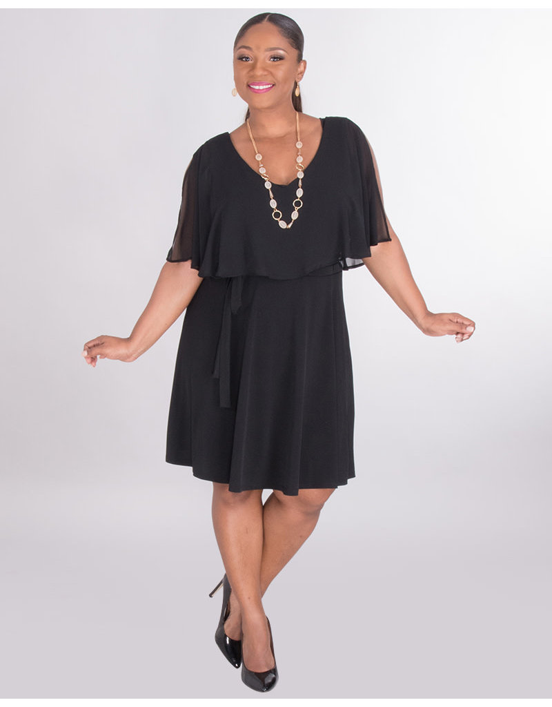 Sharagano ISELLE- V-Neck Dress With Chiffon Cape & Band