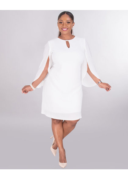 RAYEL- 3/4 Tulip Sleeve Dress With Keyhole
